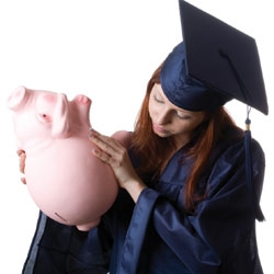 student shaking empty piggy bank