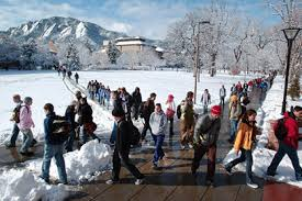 Students walking in winter